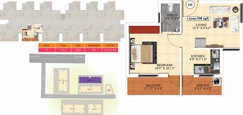 Vijay Raja Ideal Homes (1BHK+1T (538 sq ft) 538 sq ft)