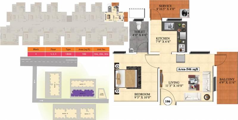 Vijay Raja Ideal Homes (1BHK+1T (546 sq ft) 546 sq ft)