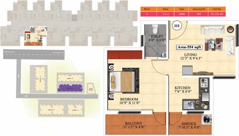 Vijay Raja Ideal Homes (1BHK+1T (554 sq ft) 554 sq ft)