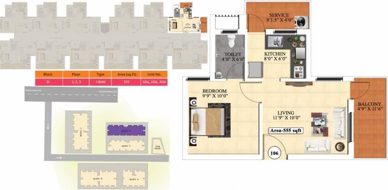 Vijay Raja Ideal Homes (1BHK+1T (555 sq ft) 555 sq ft)