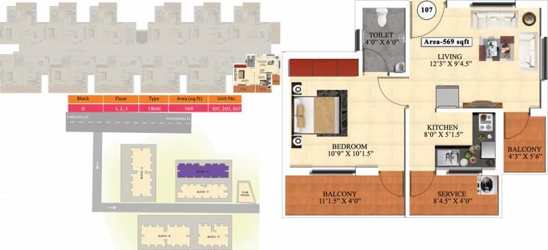 Vijay Raja Ideal Homes (1BHK+1T (569 sq ft) 569 sq ft)