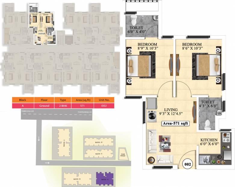 Vijay Raja Ideal Homes (2BHK+2T (571 sq ft) 571 sq ft)