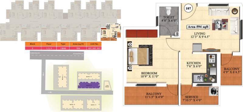 Vijay Raja Ideal Homes (1BHK+1T (594 sq ft) 594 sq ft)