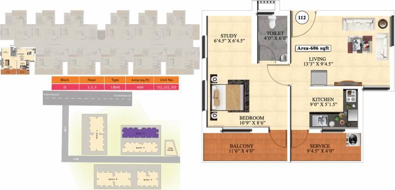 Vijay Raja Ideal Homes (1BHK+1T (606 sq ft) 606 sq ft)
