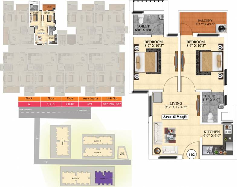 Vijay Raja Ideal Homes (2BHK+2T (619 sq ft) 619 sq ft)