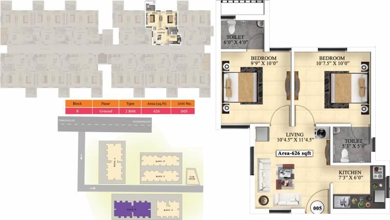 Vijay Raja Ideal Homes (2BHK+2T (626 sq ft) 626 sq ft)
