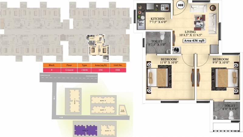 Vijay Raja Ideal Homes (2BHK+2T (636 sq ft) 636 sq ft)