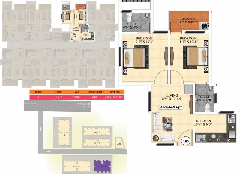 Vijay Raja Ideal Homes (2BHK+2T (648 sq ft) 648 sq ft)