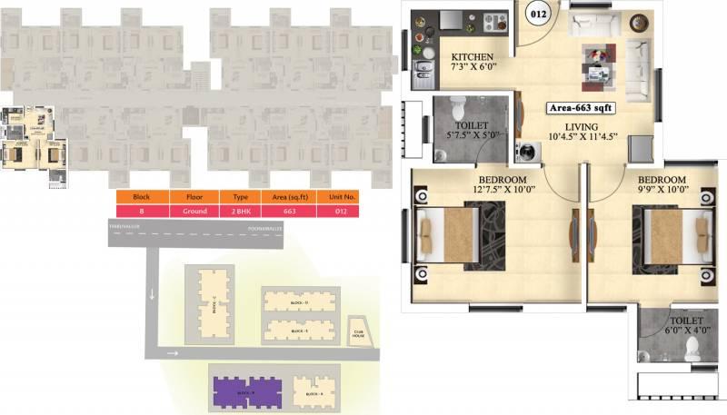 Vijay Raja Ideal Homes (2BHK+2T (663 sq ft) 663 sq ft)