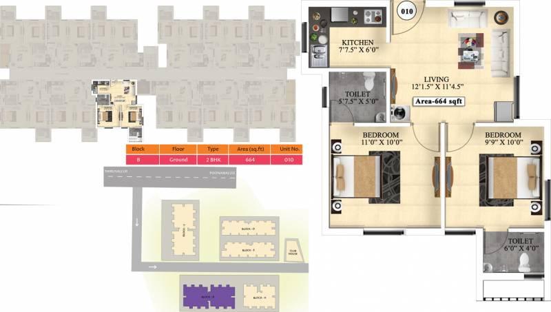 Vijay Raja Ideal Homes (2BHK+2T (664 sq ft) 664 sq ft)
