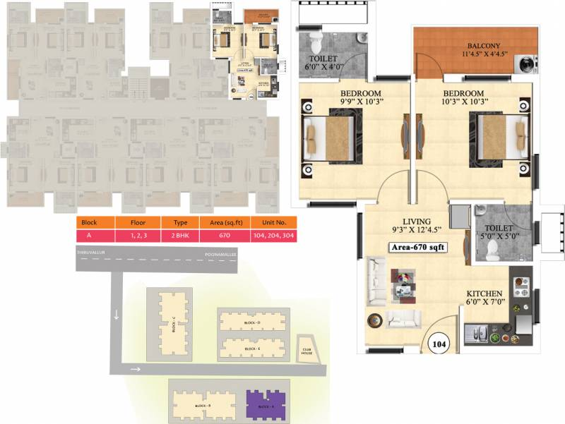 Vijay Raja Ideal Homes (2BHK+2T (670 sq ft) 670 sq ft)