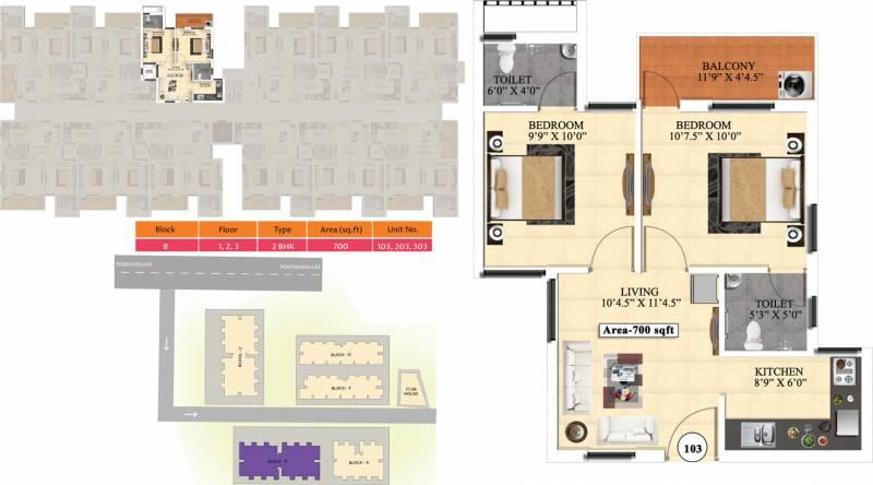 Vijay Raja Ideal Homes (2BHK+2T (700 sq ft) 700 sq ft)