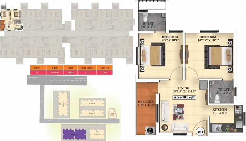 Vijay Raja Ideal Homes (2BHK+2T (701 sq ft) 701 sq ft)