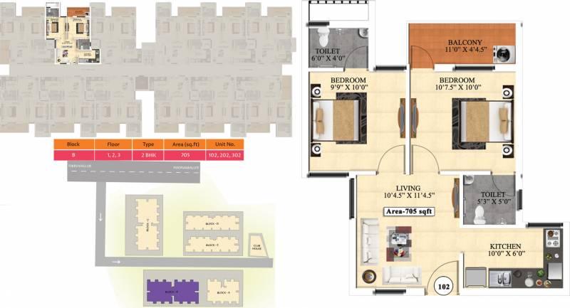 Vijay Raja Ideal Homes (2BHK+2T (705 sq ft) 705 sq ft)