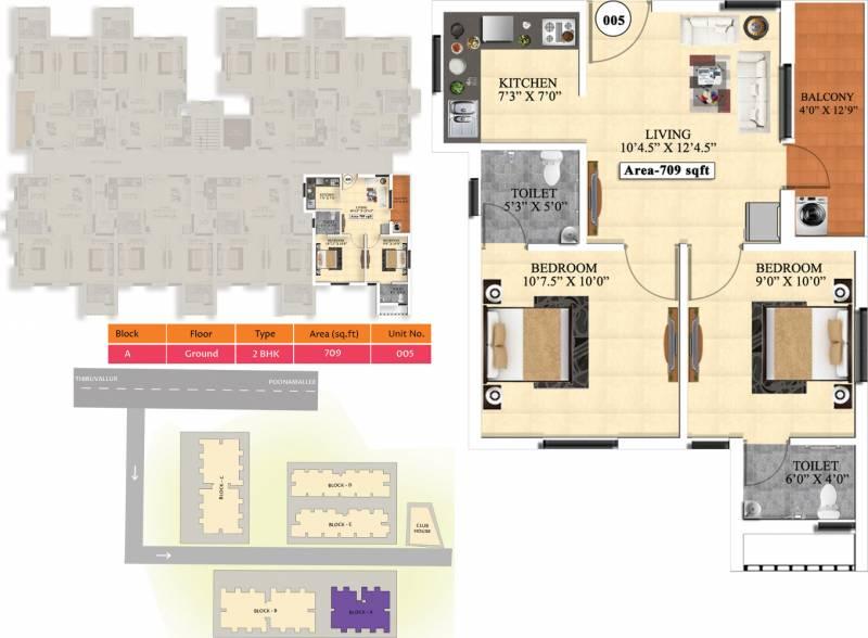 Vijay Raja Ideal Homes (2BHK+2T (709 sq ft) 709 sq ft)