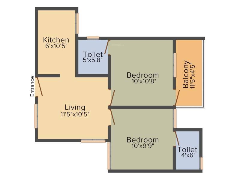 Vijay Raja Ideal Homes (2BHK+2T (718 sq ft) 718 sq ft)