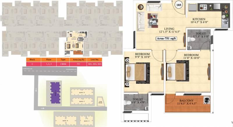 Vijay Raja Ideal Homes (2BHK+2T (751 sq ft) 751 sq ft)