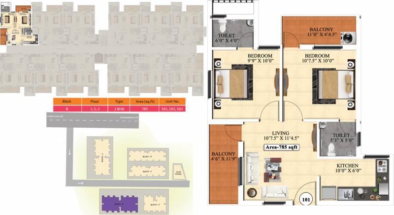 Vijay Raja Ideal Homes (2BHK+2T (785 sq ft) 785 sq ft)