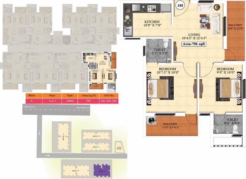 Vijay Raja Ideal Homes (2BHK+2T (796 sq ft) 796 sq ft)
