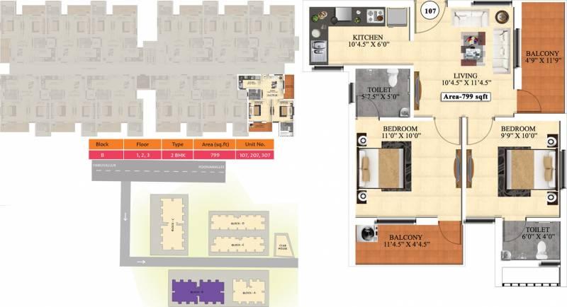 Vijay Raja Ideal Homes (2BHK+2T (799 sq ft) 799 sq ft)