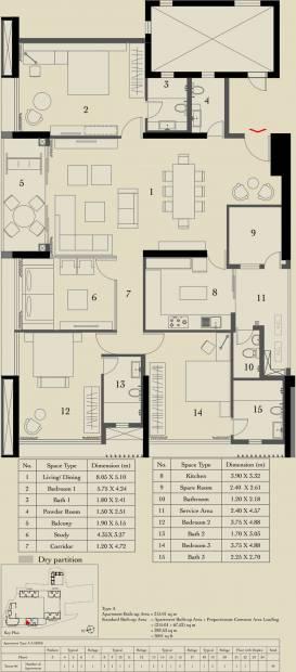 Ambuja Utalika Luxury (3BHK+3T (3,041 sq ft) + Study Room 3041 sq ft)