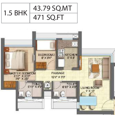 Runwal Forest Tower 1 To 4 (1BHK+1T (471.35 sq ft) + Study Room 471.35 sq ft)