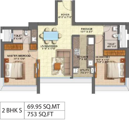Runwal Forest Tower 1 To 4 (2BHK+2T (752.94 sq ft) 752.94 sq ft)