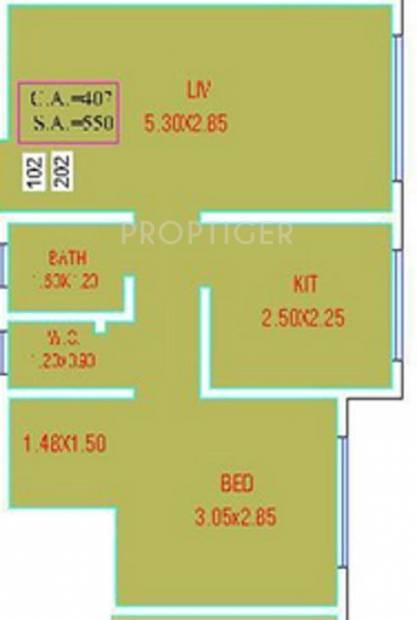Disha Baywoods Phase I (1BHK+1T (550 sq ft) 550 sq ft)