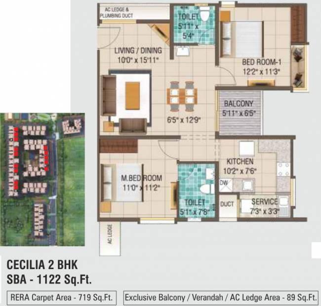 Alliance Galleria Residences (2BHK+2T (1,122 sq ft) 1122 sq ft)