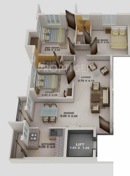 1000 Sq Ft 3 Bhk Floor Plan Image Blue Print