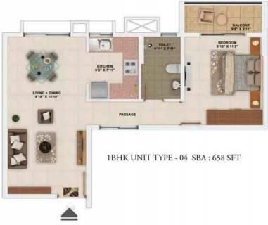658 Sq Ft 1 Bhk Floor Plan Image Salarpuria Sattva Group Park Cubix Available Rs 4 690 Per Sqft For Sale Rs In 29 54 Lacs Proptiger Com
