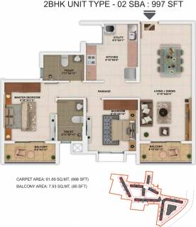 997 Sq Ft 2 Bhk Floor Plan Image Salarpuria Sattva Group Park Cubix Available Rs 4 690 Per Sqft For Sale Rs In 46 76 Lacs Proptiger Com