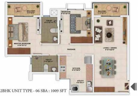 1009 Sq Ft 2 Bhk Floor Plan Image Salarpuria Sattva Group Park Cubix Available Rs 4 690 Per Sqft For Sale Rs In 45 30 Lacs Proptiger Com