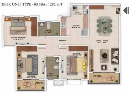 1282 Sq Ft 3 Bhk Floor Plan Image Salarpuria Sattva Group Park Cubix Available Rs 4 690 Per Sqft For Sale Rs In 57 56 Lacs Proptiger Com