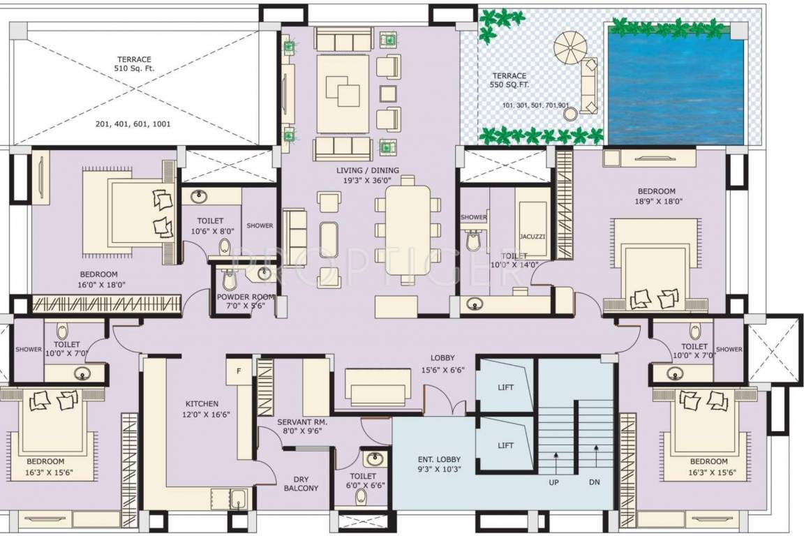 2500 sq ft 3 bhk 3t apartment for sale in marvel realtors for Apartment floor plans 2500 sq ft