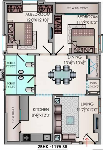 Riddhi Valentino (2BHK+2T (1,195 sq ft) + Pooja Room 1195 sq ft)