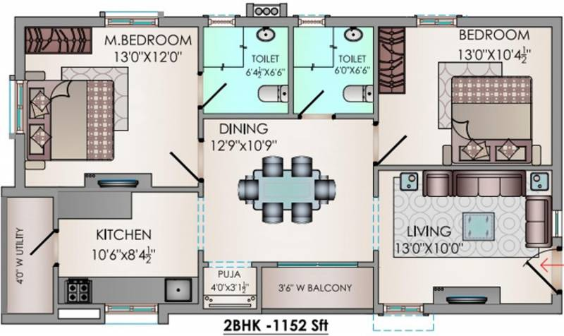 Riddhi Valentino (2BHK+2T (1,152 sq ft) + Pooja Room 1152 sq ft)