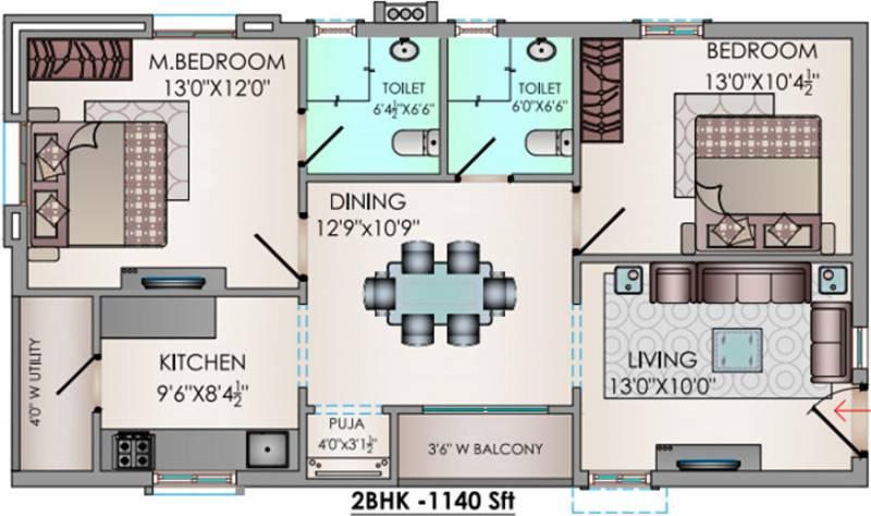 Riddhi Valentino (2BHK+2T (1,140 sq ft) + Pooja Room 1140 sq ft)