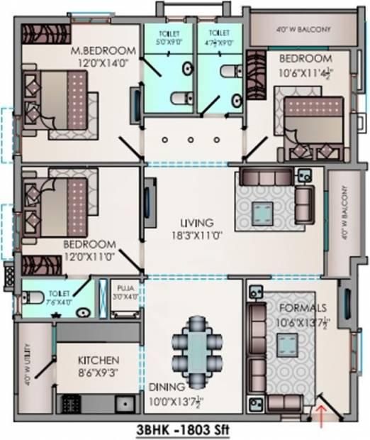 Riddhi Valentino (3BHK+3T (1,803 sq ft) + Pooja Room 1803 sq ft)