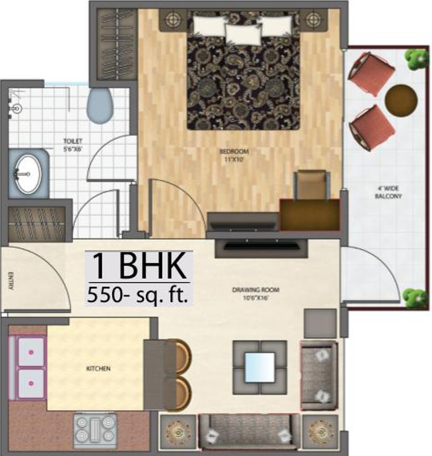 550 sq ft 1 bhk 1t apartment for sale in h3v homes leela