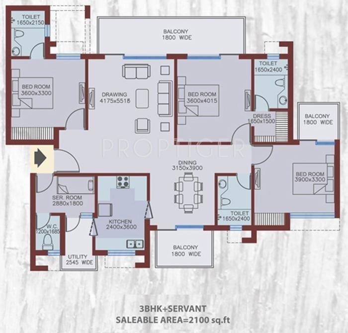 2100 sq ft 3 bhk 4t apartment for sale in adel landmarks for Floor plans 2100 sq ft