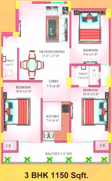 Kkay Kendriya Karamchari Awasiye Yojna (3BHK+2T (1,150 sq ft) 1150 sq ft)