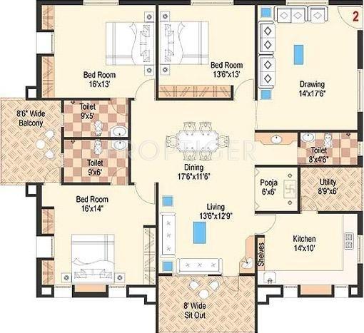2500 Sq Ft 3 BHK Floor Plan Image