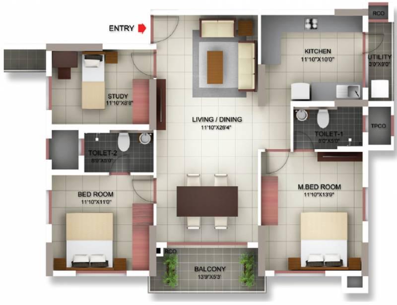 Incor Siesta (2BHK+2T (1,370 sq ft) + Study Room 1370 sq ft)