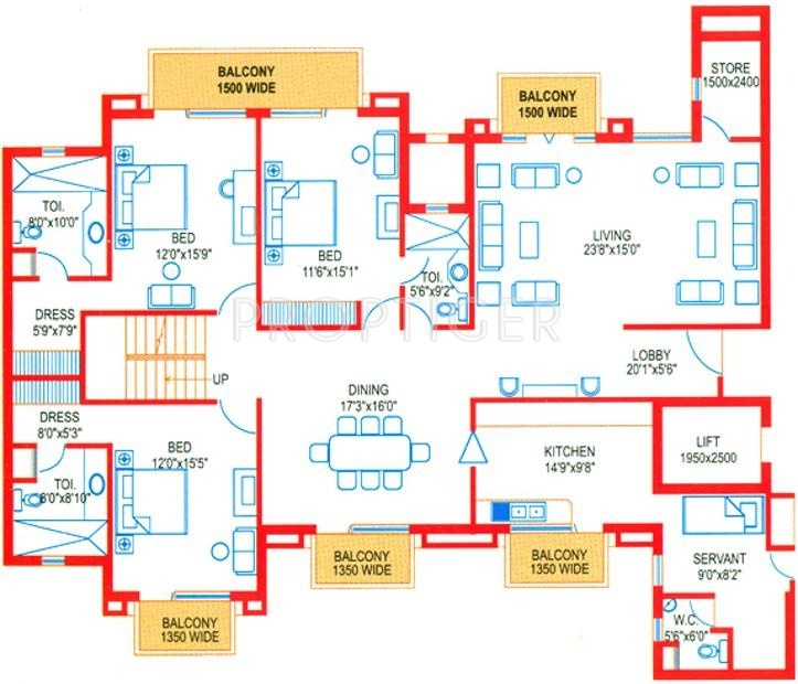 House Plan For 16 Feet By 54 Feet Plot Plot Size 96: 4994 Sq Ft 5 BHK 5T Apartment For Sale In Suncity Projects