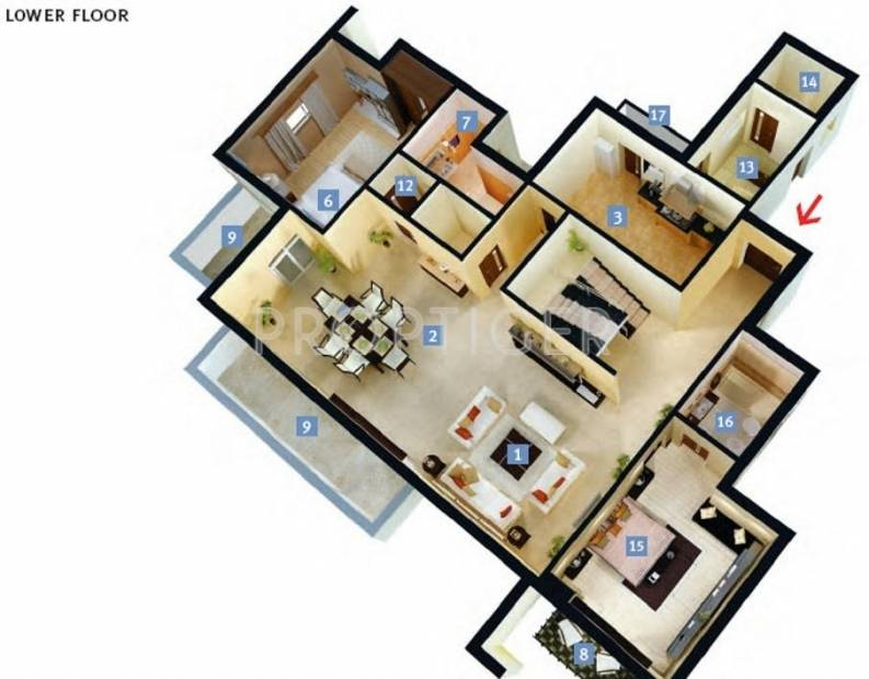 DLF New Town Heights (2BHK+2T (1,262 sq ft) 1262 sq ft)