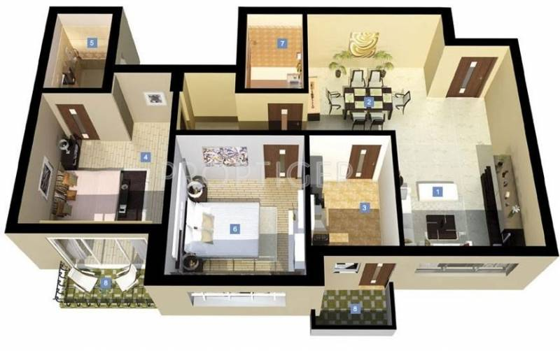 DLF New Town Heights (2BHK+2T (1,287 sq ft) 1287 sq ft)