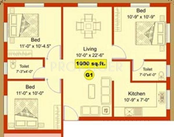 1000 Sq Ft 3 Bhk Floor Plan Image Aliyah Foundation