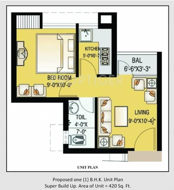 420 Sq Ft 1 Bhk Floor Plan Image Vibgyor Housing