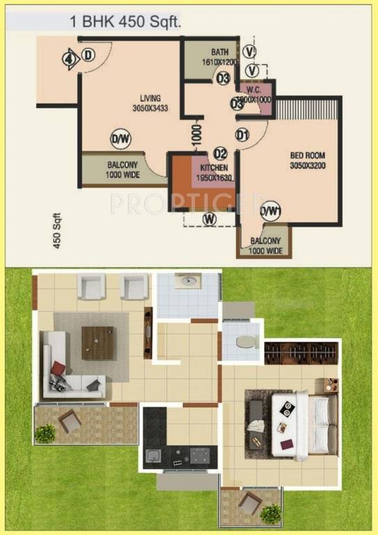 450 sq ft 1 bhk 1t apartment for sale in vibgyor planet uattardhona lucknow. Black Bedroom Furniture Sets. Home Design Ideas